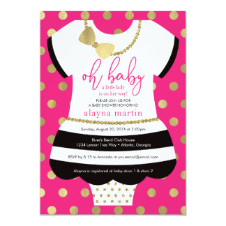 Little Lady Baby Shower Invitation, Faux Gold Card
