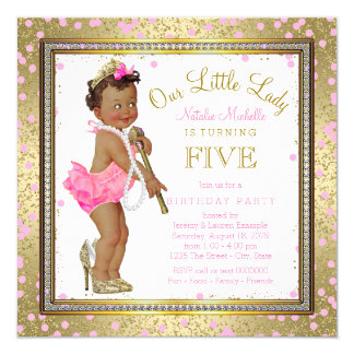 Little Lady Girls 5th Birthday Party Ethnic Girl 13 Cm X 13 Cm Square Invitation Card