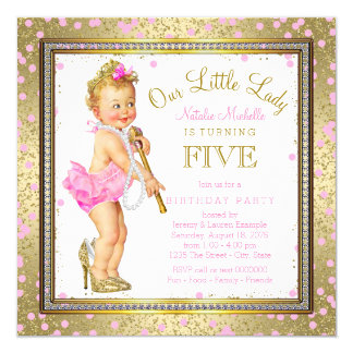 Little Lady Girls 5th Birthday Party Pink Gold 13 Cm X 13 Cm Square Invitation Card