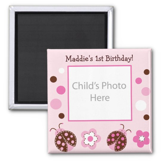 Little Lady Ladybug Photo Birthday Favour Magnets