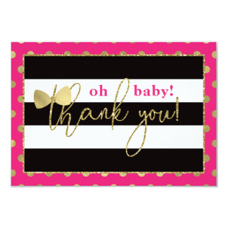 Little Lady Thank You Card, Faux Glittler/Foil Card