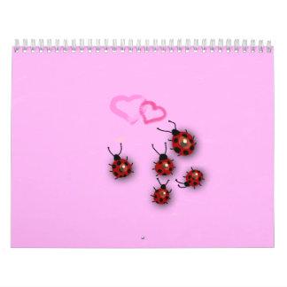 Little ladybirds and dreamy pink landscape calendars