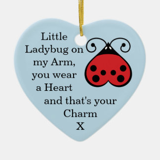Little Ladybug Charming Heart Shape Ornament Blue