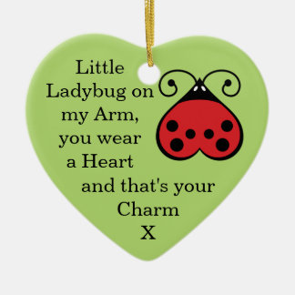 Little Ladybug Charming Heart Shape Ornament Green