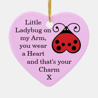 Little Ladybug Charming Heart Shape Ornament Pink