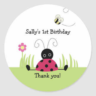 Little Ladybug Favor Sticker Baby Shower Birthday