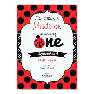 Little Ladybug First Birthday Polka Dot Invitation