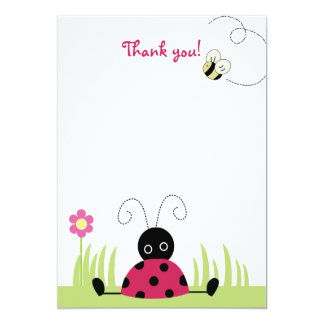 Little Ladybug Flat Thank you note cards 13 Cm X 18 Cm Invitation Card