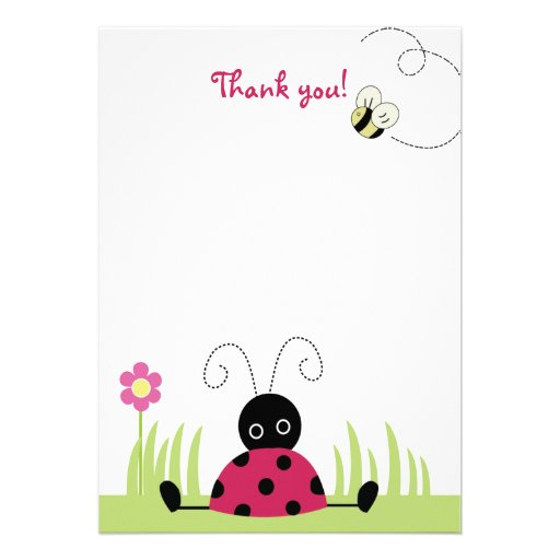 Little Ladybug Flat Thank you note cards Personalized Announcement