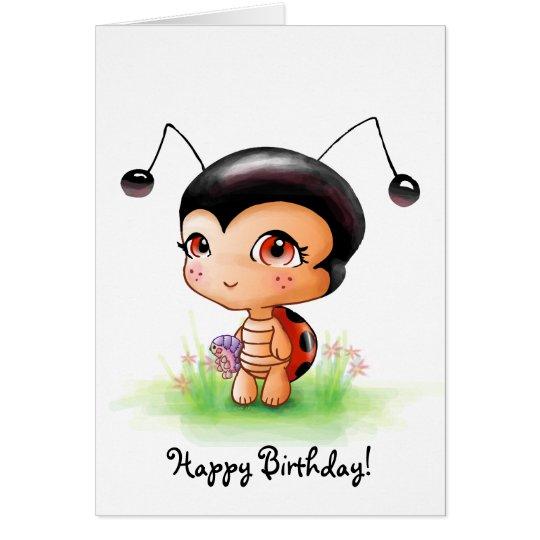 Little Ladybug Girl Birthday Card