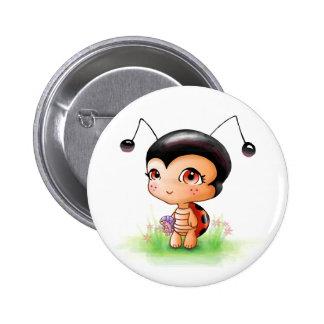 Little Ladybug Girl Button