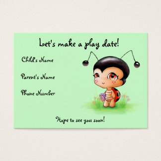 Little Ladybug Girl Play Date Card
