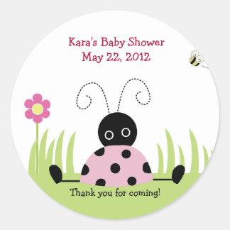 Little Ladybug Pink Baby Shower Favor Sticker