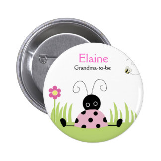 Little Ladybug Pink NAME TAG Personalized Button