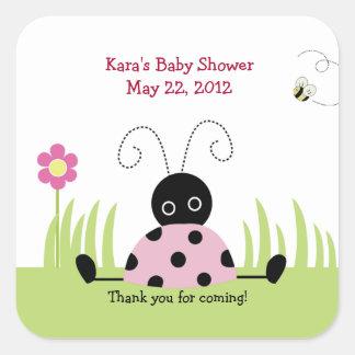 Little Ladybug Pink SQUARE Favor Sticker