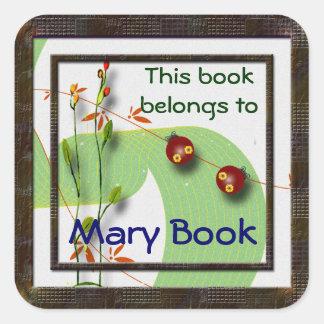 Little Ladybugs Bookplate Square Sticker