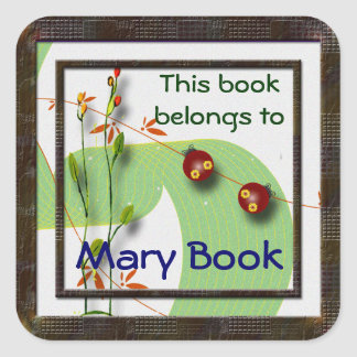 Little Ladybugs Bookplate Square Stickers