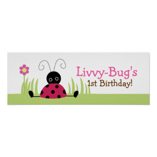 Little Ladybugs Personalized Birthday Banner Poster