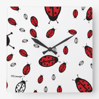 Little LadyBugs Square Wall Clock