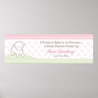 Little Lamb Baby Shower Banner  |  Girl Poster