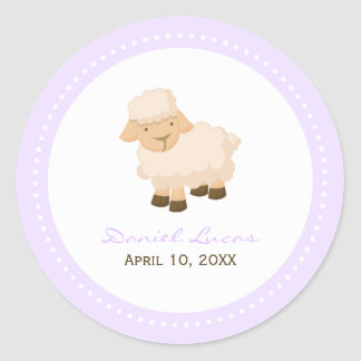 Little Lamb Baptism Round Sticker