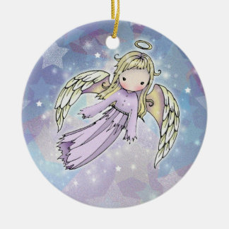 Little Lavender Angel in the Stars Ornament