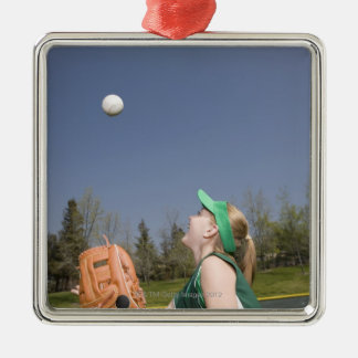 Little league player catching ball Silver-Colored square decoration
