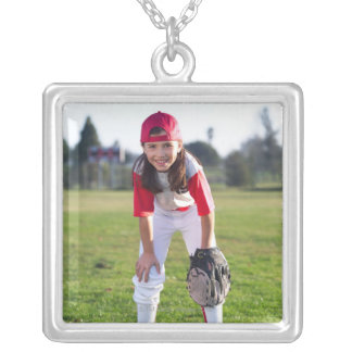 Little league player silver plated necklace