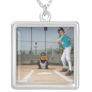 Little league player up to bat silver plated necklace