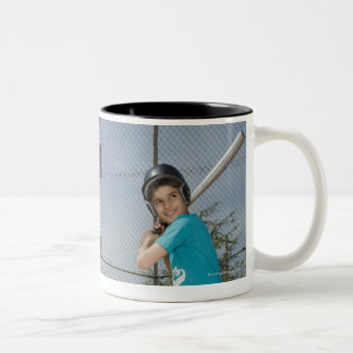 Little league player up to bat Two-Tone coffee mug