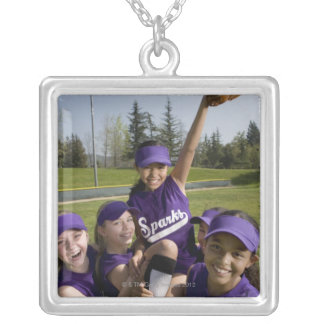 Little league players carrying teammate square pendant necklace