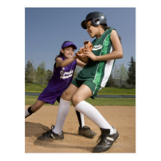 Little league softball game postcard