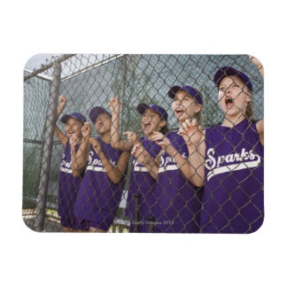 Little league team cheering in dugout magnet