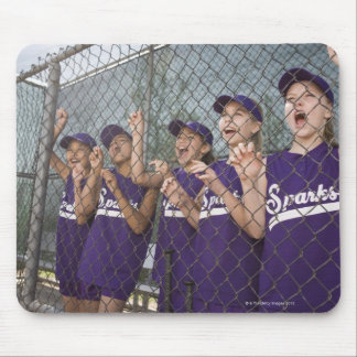 Little league team cheering in dugout mouse pad