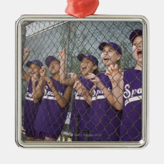 Little league team cheering in dugout Silver-Colored square decoration