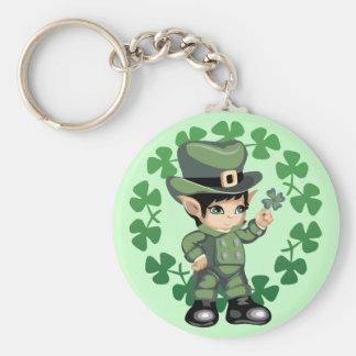 Little Leprechaun with Shamrocks Basic Round Button Key Ring