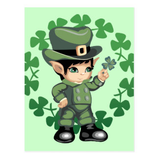 Little Leprechaun with Shamrocks Postcard