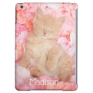 Little Linus Pink Floral sleeping kitten Cover For iPad Air