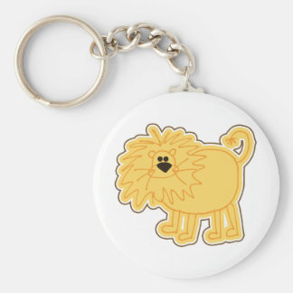 Little Lion Doodle Basic Round Button Key Ring