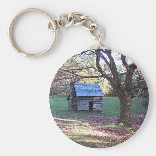 little log cabin key ring
