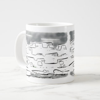 Little lost cat in the busy city jumbo mug