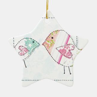 little love birds ceramic star decoration