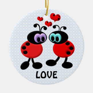 Little Love Bugs Round Ceramic Decoration