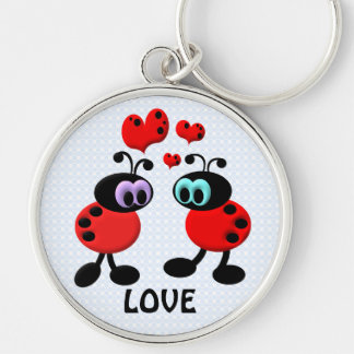 Little Love Bugs Silver-Colored Round Key Ring