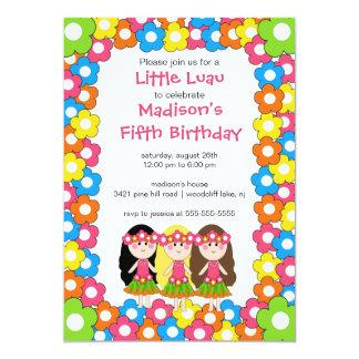"Little Luau Party Birthday Invitation 5"" X 7"" Invitation Card"