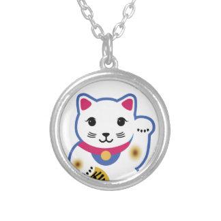 Little Lucky Cat, Maneki-neko ,招き猫 Round Pendant Necklace