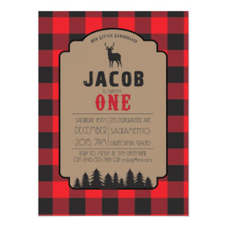 Little Lumberjack Buffalo Check Invitation