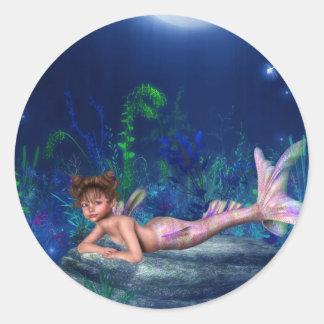 Little Maggie Mermaid Girl Classic Round Sticker