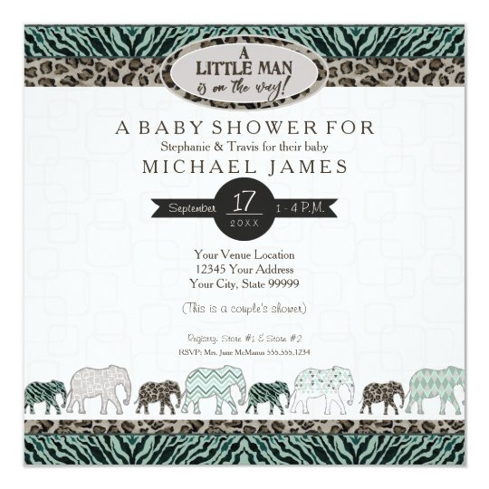 Little Man Baby Boy Safari Elephants Zebra Shower