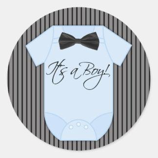 Little Man Baby Boy Shower Round Sticker